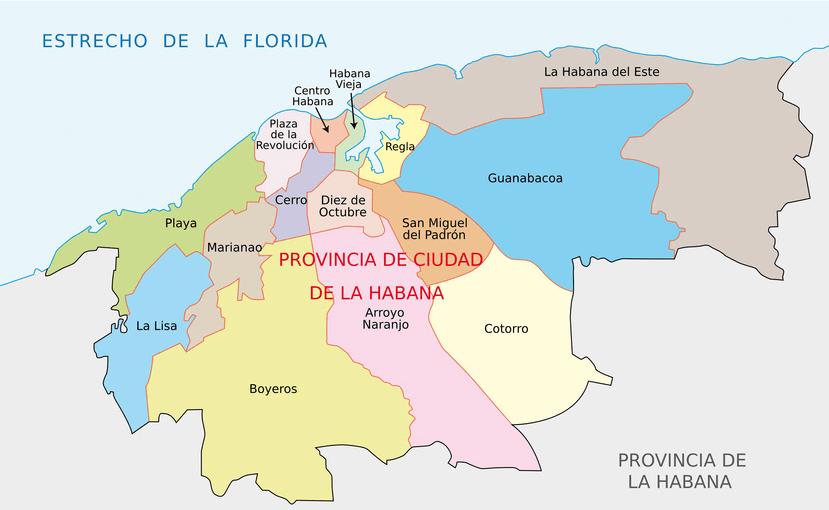 Stadtplan von Havanna mit dem Stadtinneren.