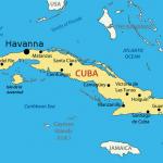 Auf dem Bild ist eine Karte von Kuba und Havanna ist eingezeichnet.